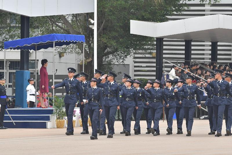 行政長官林鄭月娥今日(十一月二十五日)上午在香港警察學院結業會操上檢閱見習督察和學警。