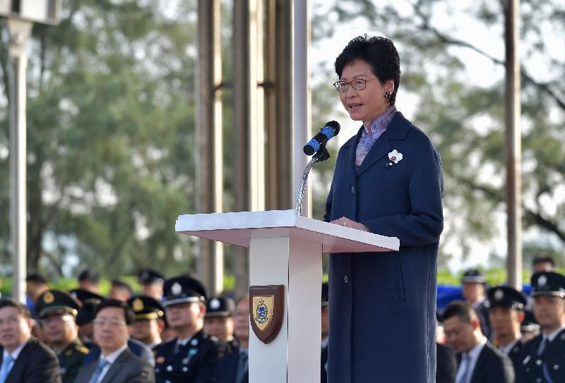 行政長官林鄭月娥今日(十二月一日)下午在入境事務學院結業會操上致辭。