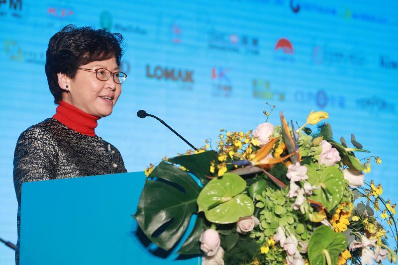 行政長官林鄭月娥今日(十二月八日)在東莞出席2017第十六屆香港珠三角工商界合作交流會,並在活動上致辭。