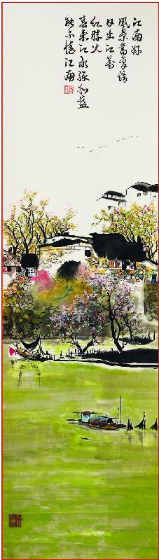 「四躍墨緣」書畫展覽十二月十一日至十三日(星期一至三)於尖沙咀香港文化中心四樓展覽館舉行。圖示其中一件展品,梁滿金繪畫的江南春天景色。
