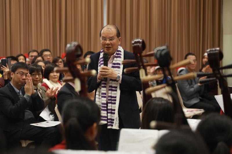 政務司司長張建宗今日(十二月二十四日)在青年音樂訓練基金心光聖誕音樂會致辭。