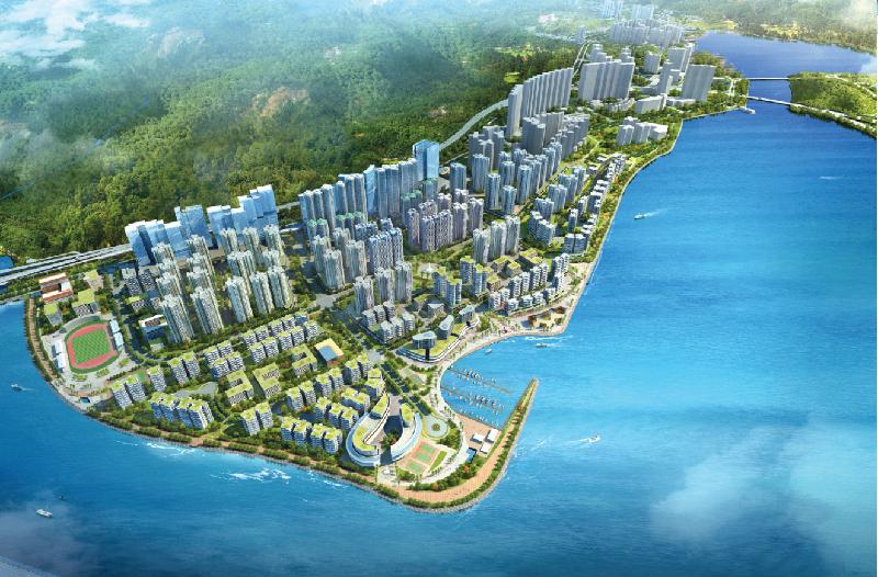 土木工程拓展署今日(一月十日)與利基-三星聯營簽署工程合約,以展開東涌東填海及東涌新市鎮擴展前期工程。圖為東涌東發展概念圖。