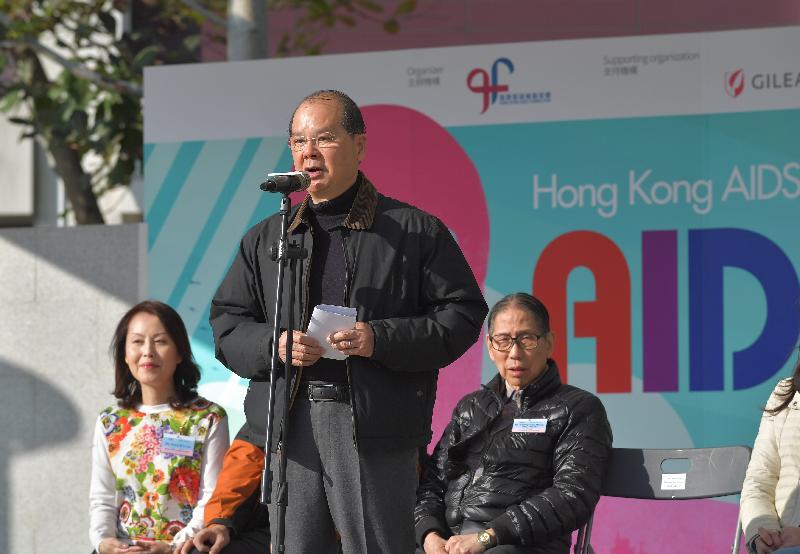 政务司司长张建宗今日(一月十三日)在香港爱滋病基金会AIDS Free越野慈善跑起动礼上致辞。