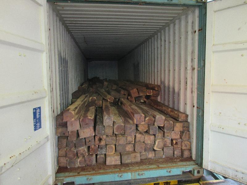 香港海關昨日(一月十六日)在葵涌海關大樓驗貨場一個貨櫃內檢獲約二萬九千二百三十二公斤懷疑伯利茲黃檀木材,估計市值約二百九十萬元。