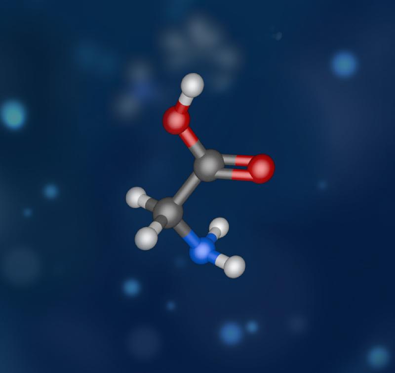 香港太空館明日(二月一日)起上映全新製作的天象節目《宇宙中的生命》,與觀眾探索地外生命的可能性。圖示組成蛋白質的基本材料氨基酸。蛋白質是生命的重要元素,肌肉、賀爾蒙和酵素都是由蛋白質組成。「星塵號」太空船於威爾二號彗星發現了最簡單的氨基酸——甘氨酸。
