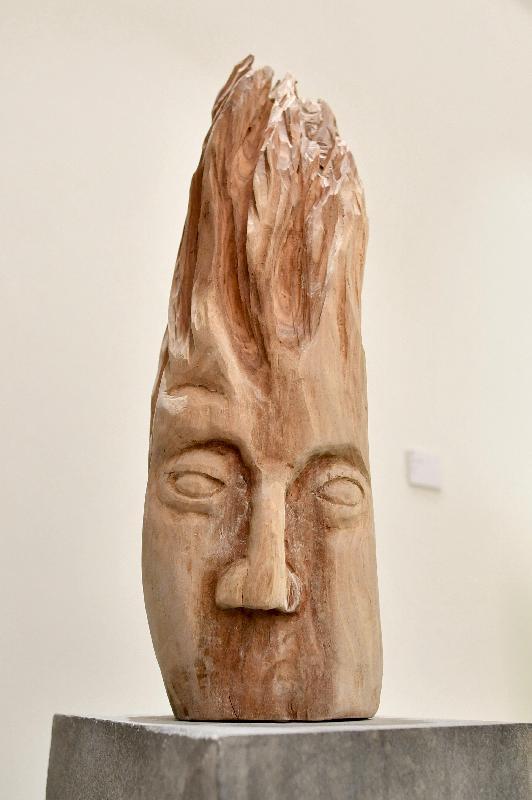 「藝術專修課程2017─18畢業展」開幕典禮今日(二月九日)在香港視覺藝術中心舉行。圖示何雅婷的雕塑作品《面木》。