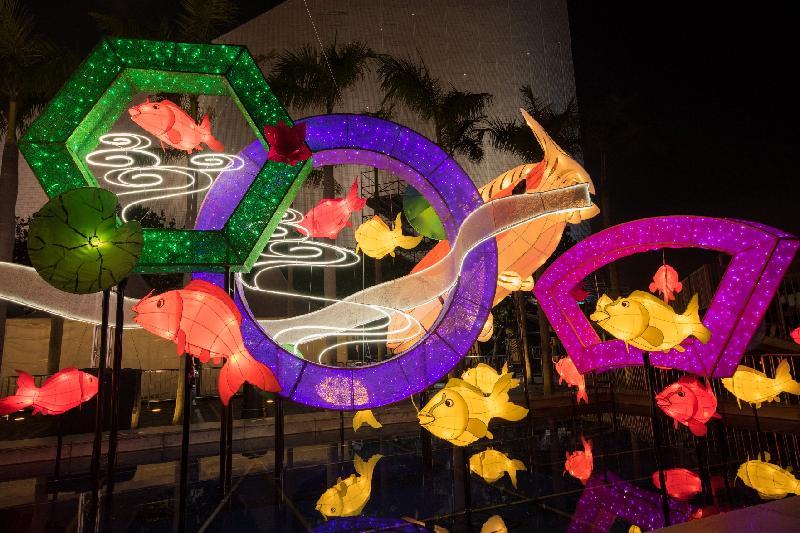 康樂及文化事務署今日(二月九日)起於香港文化中心露天廣場舉行春節專題綵燈展「魚躍香江樂滿城」,以吉祥之物「錦鯉」為主題,展出近九十個色彩艷麗、形態萬千的錦鯉造型綵燈。