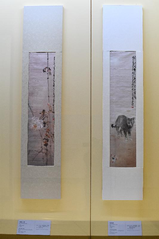 香港文化博物館的趙少昂藝術館今日(二月九日)起,舉行「瓷緣‧畫意」展覽。圖示趙少昂及楊善深合繪的書畫作品《耄耋圖》(右)和《薔薇小鳥》(左)(私人藏品)。