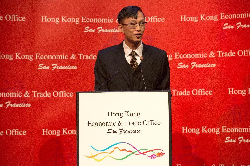 香港駐三藩市經濟貿易辦事處處長蔣志豪今日(三藩市時間二月二十六日)在三藩市舉辦的新春酒會致辭。