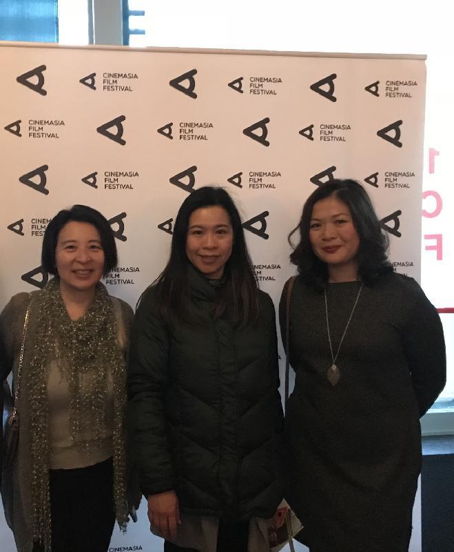 (左起)荷蘭亞洲電影節藝術總監李詩才、香港駐布魯塞爾經濟貿易辦事處副代表周雪梅和荷蘭亞洲電影節行政總監潘慧慧三月六日(阿姆斯特丹時間)在阿姆斯特丹舉行的荷蘭亞洲電影節2018開幕禮上合照。