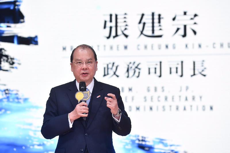 政務司司長張建宗今日(三月十日)在創二會舉辦的貳想天開年度大會致辭。