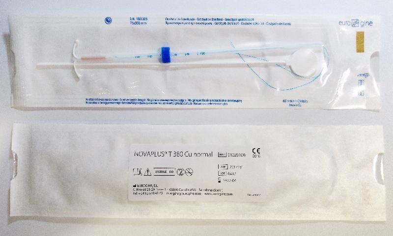 卫生署今日(三月十四日)促请市民留意有关由Eurogine SL公司制造的子宫环的回收行动。图示其中一款受影响产品Novaplus T380 Cu Normal。