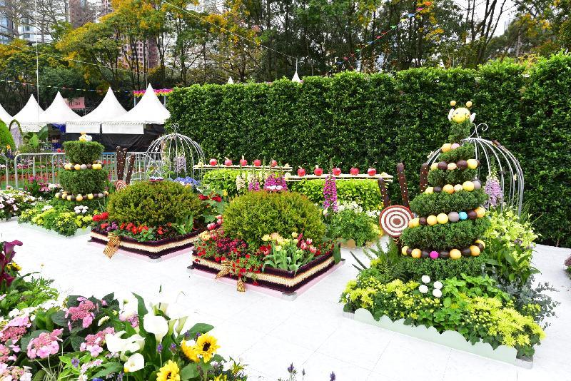 香港花卉展覽主要活動之一的花卉及植物展品比賽今日(三月十七日)公布得獎名單。圖為康樂及文化事務署西方園圃比賽的冠軍園圃。
