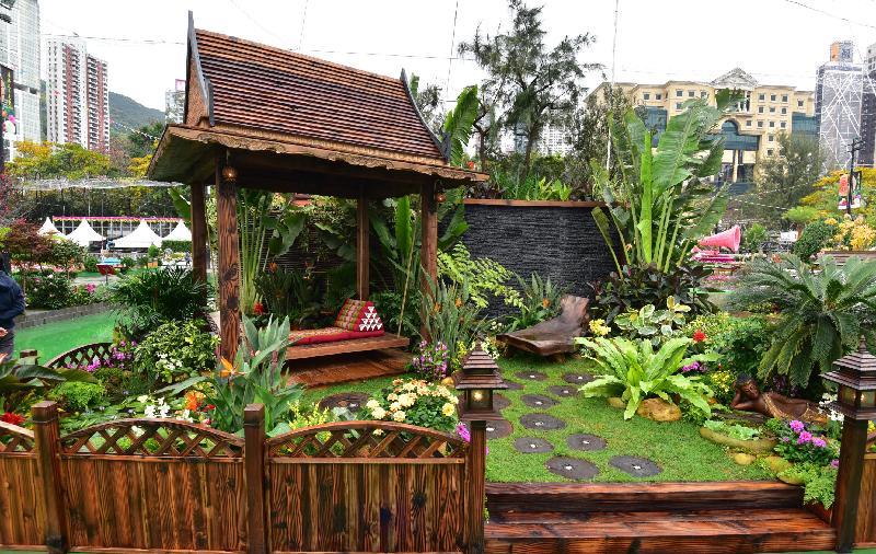 香港花卉展覽主要活動之一的花卉及植物展品比賽今日(三月十七日)公布得獎名單。圖為康樂及文化事務署東方園圃比賽的冠軍園圃。