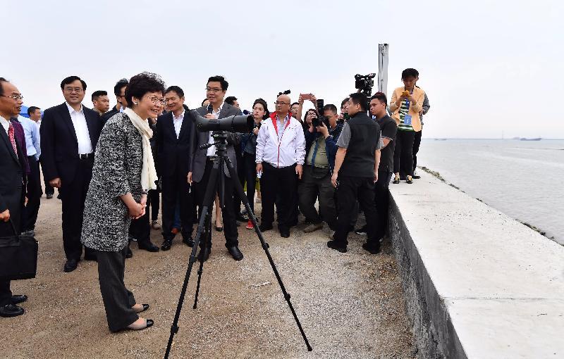 行政長官林鄭月娥今日(三月二十九日)在中山視察深中通道登陸點。