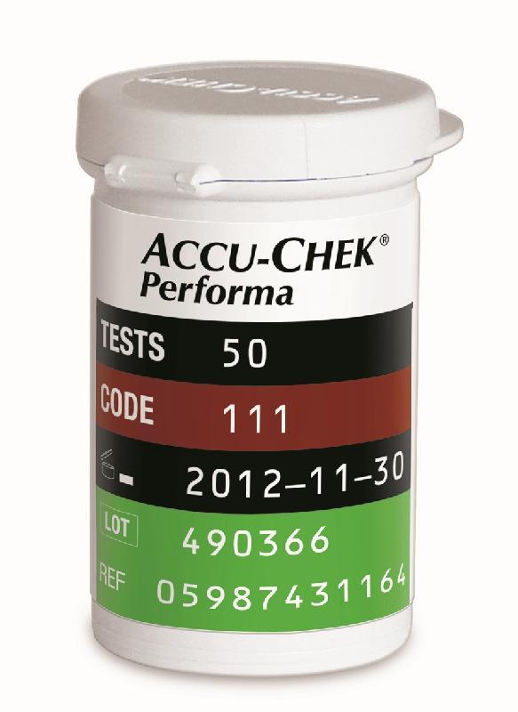 衞生署今日(五月三日)接獲本地供應商羅氏診斷(香港)有限公司(羅氏)通知,因潛在安全問題,正自願回收特定批號的Accu-Chek Performa卓越血糖試紙。圖為Accu-Chek Performa卓越血糖試紙50條裝的包裝。