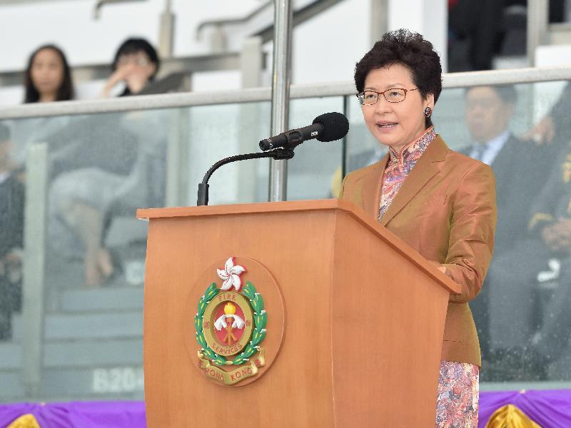 行政長官林鄭月娥今日(五月九日)在消防及救護學院出席香港消防處150周年大會操並致辭。