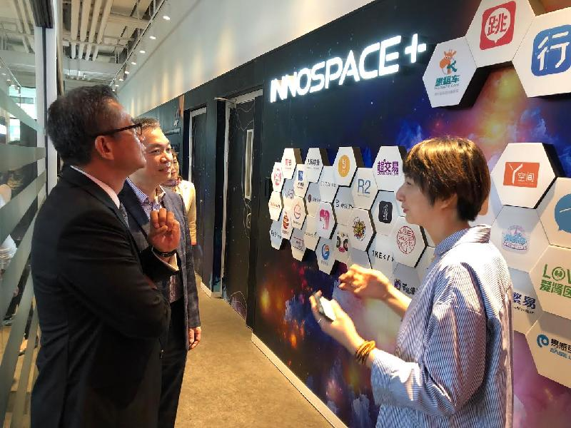 The Financial Secretary, Mr Paul Chan (first left), in Shanghai today (June 7) visits Innospace+ to learn more about the ecosystem in Shanghai for start-ups.
