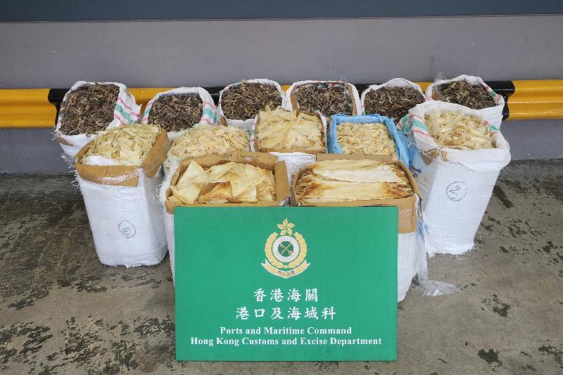 香港海關六月四日在葵涌海關大樓驗貨場的一個貨櫃內檢獲約一百四十公斤懷疑受管制乾海馬及二百二十公斤乾魚翅,估計市值約四十二萬元。