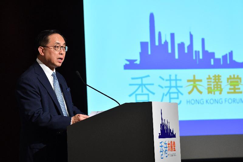 創新及科技局局長楊偉雄今日(六月十二日)在「香港大講堂:深化兩地科技合作 共建國際創科中心」上致辭。