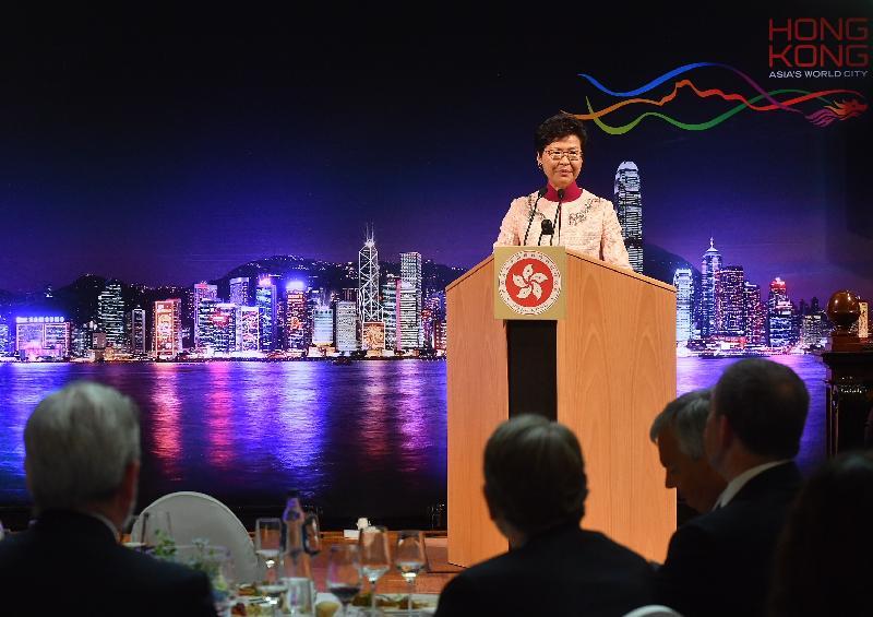 行政長官林鄭月娥今日(布魯塞爾時間六月十四日)在比利時布魯塞爾展開歐洲訪問行程,並在香港歐洲商務協會及香港駐布魯塞爾經濟貿易辦事處聯合主辦的午餐會上致辭。