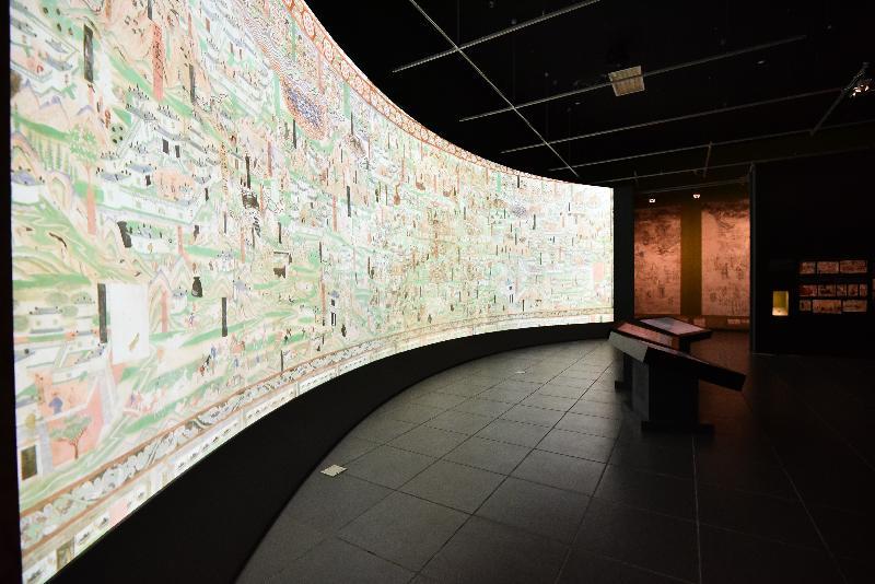 香港文化博物館本年度重點展覽「數碼敦煌——天上人間的故事」明日(七月十一日)起舉行。圖示以數碼技術展現的莫高窟六十一窟中五代時期大型壁畫《五臺山圖》。