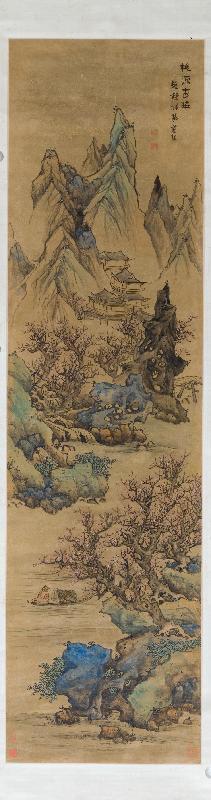 香港藝術館獲贈逾三百五十件至樂樓藏中國書畫,捐贈儀式今日(七月十九日)舉行。圖示藍瑛(一五八五至約一六六四)的《山水十二屏》第一屏。此十二屏可謂藍瑛集大成之作,其所仿者盡皆唐、宋、元時期名家,構圖雄偉。