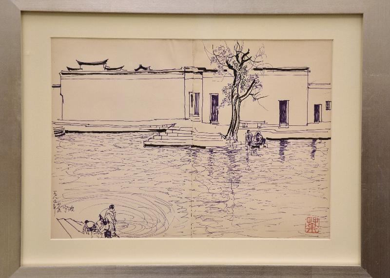 香港藝術館再獲贈吳冠中畫作及個人文獻,捐贈儀式今日(八月二十二日)舉行。現場展出吳冠中的素描寫生原稿《寧波水鄉》(《雙燕》原稿)。