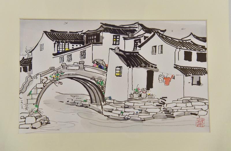 香港藝術館再獲贈吳冠中畫作及個人文獻,捐贈儀式今日(八月二十二日)舉行。現場展出吳冠中寫生作品《周莊橋邊人家》。