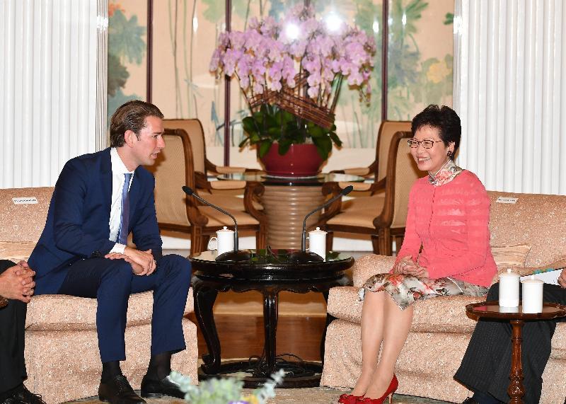 行政長官林鄭月娥(右)今日(八月三十一日)在禮賓府與訪港的奧地利共和國總理塞巴斯蒂安‧庫爾茨會面,就雙方關注的議題交換意見。