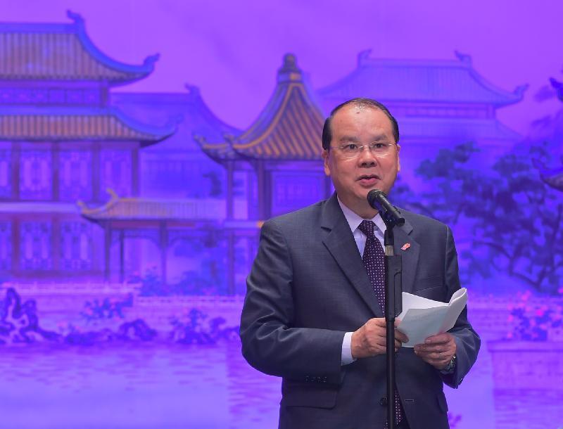 政務司司長張建宗今日(九月一日)晚上在「荃情‧觸動生命」粵劇慈善演出致辭。