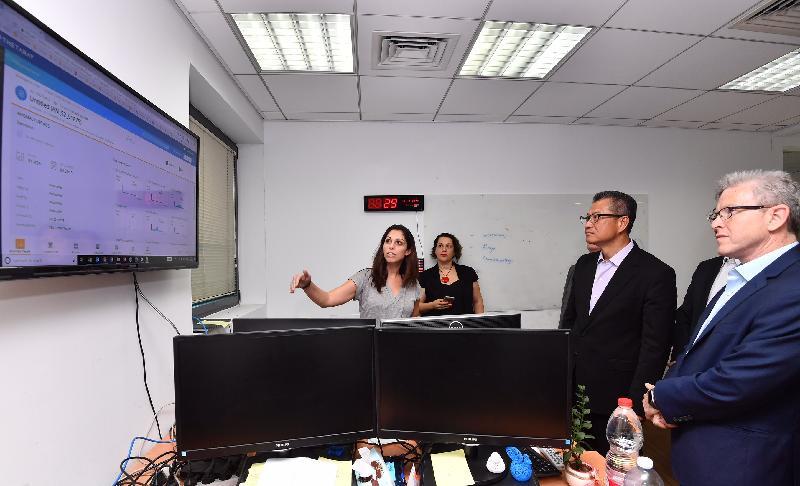 財政司司長陳茂波(右二)昨日(以色列時間九月五日)在特拉維夫到訪一間專注大數據分析及網絡安全的金融科技公司。