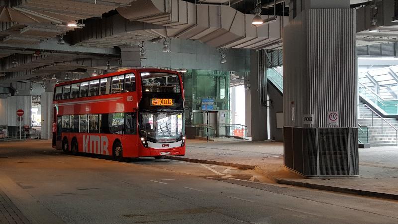 西九龍站巴士總站本星期日(九月十六日)啟用,以代替佐敦渡華路臨時巴士總站。圖示西九龍站巴士總站。