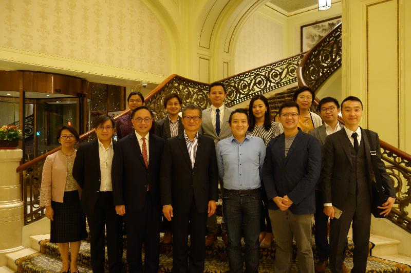 The Financial Secretary, Mr Paul Chan (front row, centre), today (September 17) has dinner in Tianjin with representatives of Hong Kong start-up enterprises who will also attend the World Economic Forum's Annual Meeting of the New Champions 2018. Also present are the Secretary for Innovation and Technology, Mr Nicholas W Yang (front row, third left) and the Director of the Office of the Government of the Hong Kong Special Administrative Region in Beijing, Ms Gracie Foo (back row, second right).