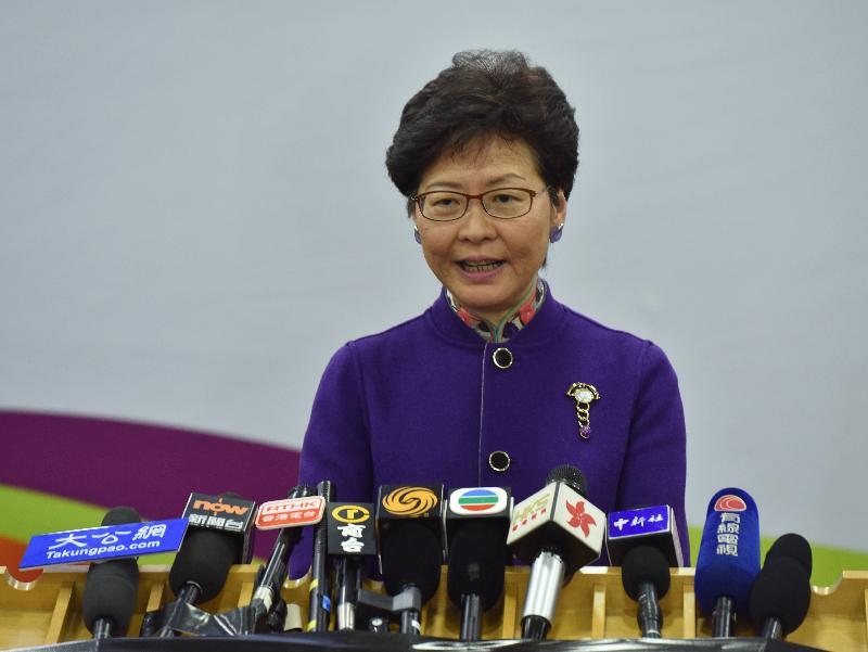 行政長官林鄭月娥今日(十一月十二日)下午在北京會見傳媒,總結她率領慶祝國家改革開放四十周年訪問團之行。