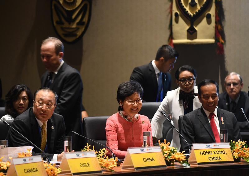 行政長官林鄭月娥(中)今日(十一月十七日)下午在巴布亞新畿內亞莫爾兹比港出席亞太區經濟合作組織與太平洋島國領導人對話。