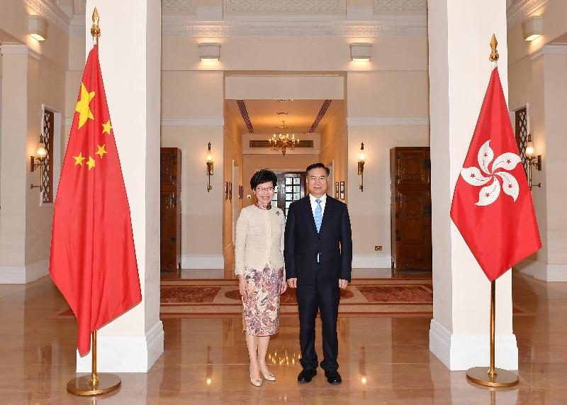 行政長官林鄭月娥(左)今日(十一月二十日)上午在禮賓府與廣東省委書記李希(右)會面。