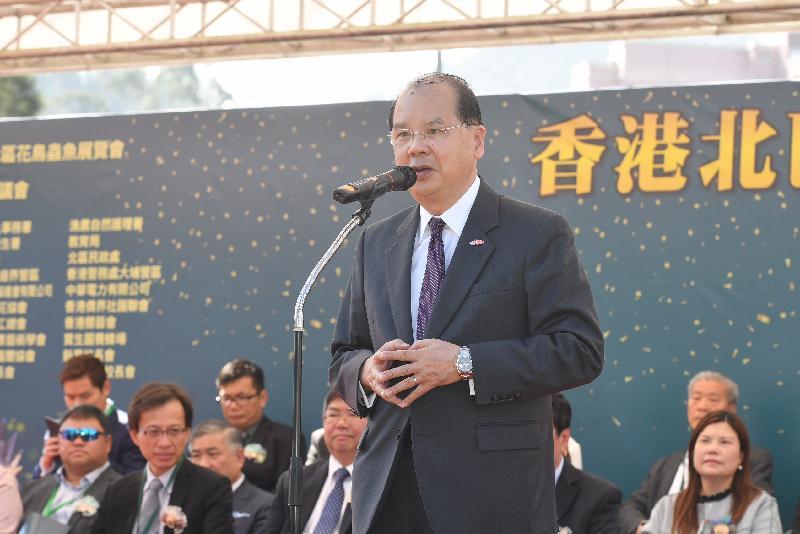 政務司司長張建宗今日(十二月二十一日)在香港北區花鳥蟲魚展覽2018開幕暨頒獎禮致辭。