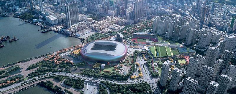 政府今日(十二月二十八日)宣布經過公開招標程序後,批出啟德體育園的設計、興建及營運合約予Kai Tak Sports Park Ltd。圖為啟德體育園的全景構想圖。