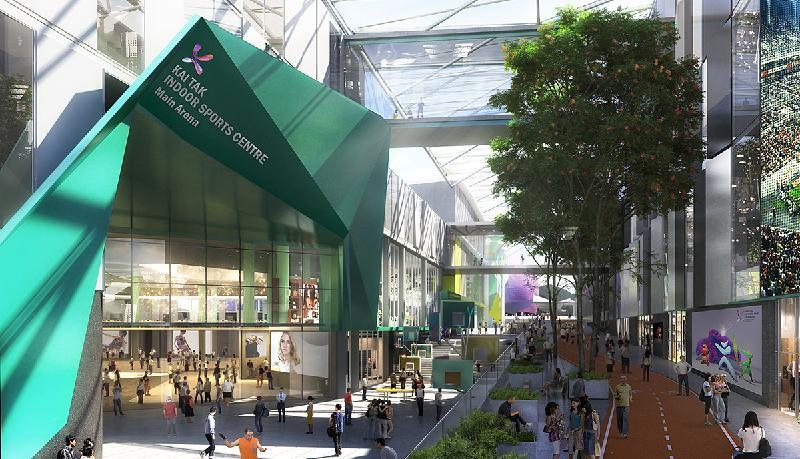 政府今日(十二月二十八日)宣布經過公開招標程序後,批出啟德體育園的設計、興建及營運合約予Kai Tak Sports Park Ltd。圖為啟德體育大道的構想圖。