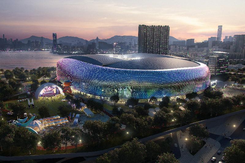 政府今日(十二月二十八日)宣布經過公開招標程序後,批出啟德體育園的設計、興建及營運合約予Kai Tak Sports Park Ltd。圖為啟德體育園主場館的構想圖。