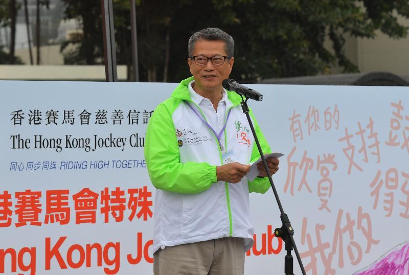 财政司司长陈茂波今日(一月十三日)在东华三院「奔向共融」——香港赛马会特殊马拉松2019致辞。