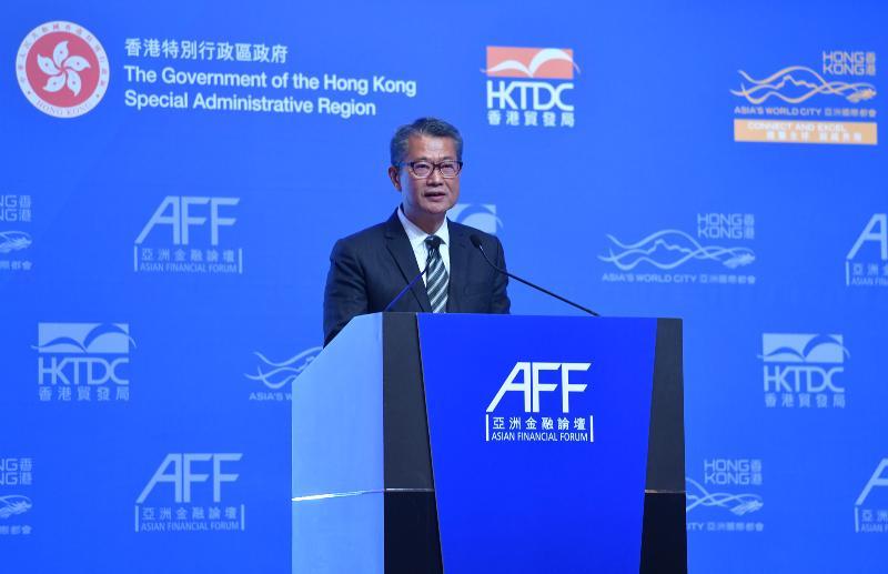 財政司司長陳茂波今日(一月十四日)在香港會議展覽中心出席亞洲金融論壇2019專題午餐會,並在午餐會上致辭。