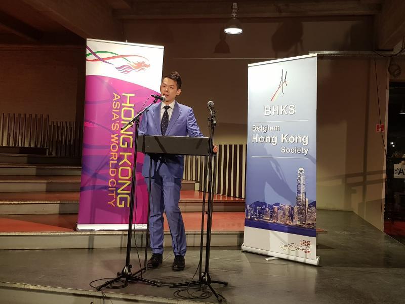 香港駐布魯塞爾經濟貿易辦事處助理代表詹錦秋一月十八日(安特衞普時間)於比利時安特衞普舉行的舞獅傳奇展開幕典禮上向嘉賓致辭。