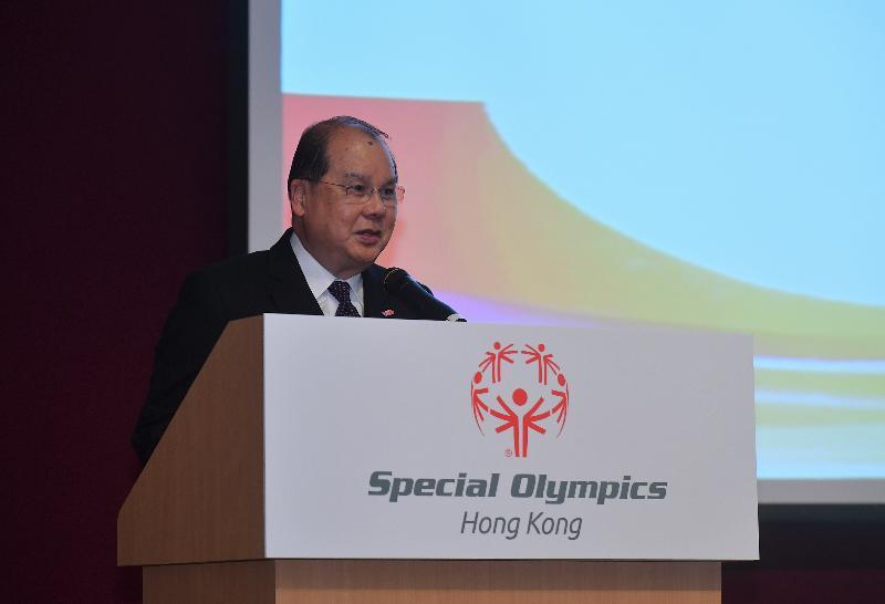 署理行政長官張建宗今日(一月二十二日)下午在香港體育學院出席2019特殊奧林匹克夏季世界比賽香港代表團授旗典禮,並在典禮上致辭。