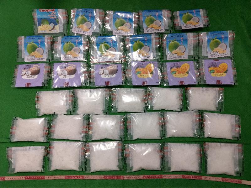 香港海關昨日(一月二十四日)在香港國際機場檢獲約四點二公斤懷疑氯胺酮,估計市值約二百萬元。
