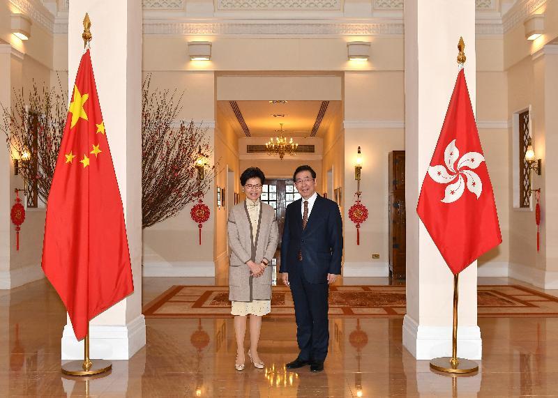 行政長官林鄭月娥(左)今日(二月一日)下午在禮賓府與韓國首爾市長朴元淳(右)會面。