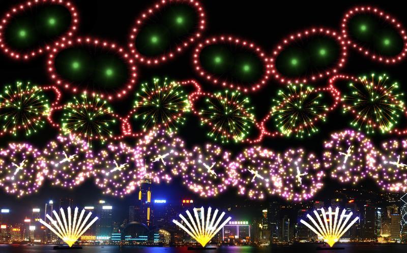「二○一九年農曆新年煙花匯演」年初二(二月六日)晚上八時在維多利亞港上空舉行。圖示第二幕煙花「豬年大吉」,以「豬鼻」造型煙花,配上「土星環」,加上本地動畫麥兜主題曲,祝願市民豬年大吉。