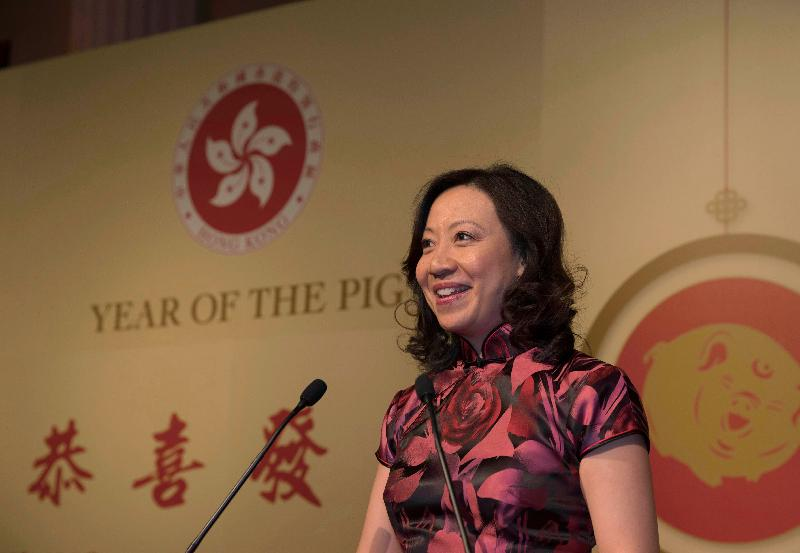 The Director-General of the Hong Kong Economic and Trade Office, London, Ms Priscilla To, delivered a speech at the Chinese New Year reception hosted by the London ETO on February 12 (London time) in London.