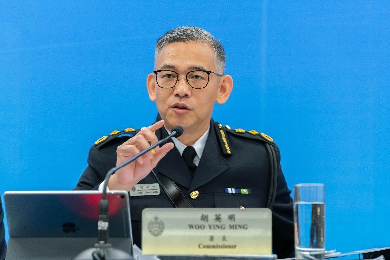 懲教署署長胡英明今日(二月十四日)主持周年記者會,回顧該署去年的懲教工作。